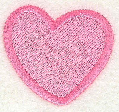 """Embroidery Design: Pink Heart  1.87"""" x 1.75"""""""