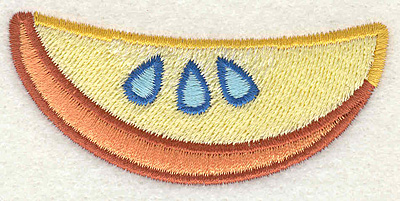 """Embroidery Design: Piece of Fruit  2.93"""" x 1.31"""""""
