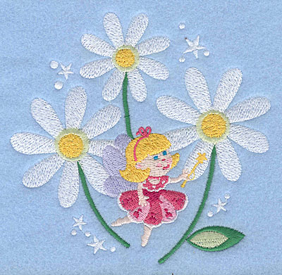 "Embroidery Design: Fairy amid daisies4.86"" x 5.00"""