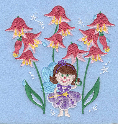 """Embroidery Design: Fairy amid pink flowers5.00"""" x 4.81"""""""