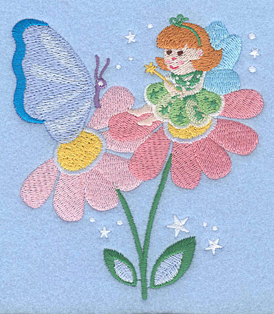 """Embroidery Design: Fairy on flower with butterfly5.00"""" x 4.39"""""""
