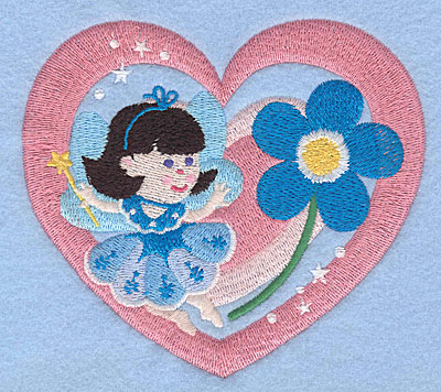 """Embroidery Design: Fairy in heart4.34"""" x 5.00"""""""