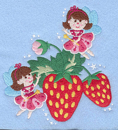 """Embroidery Design: Fairies with stawberries5.00"""" x 4.66"""""""