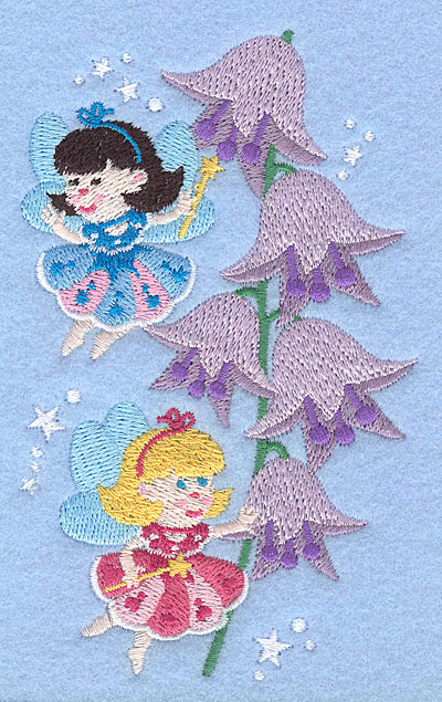 """Embroidery Design: Fairies with bell flowers5.00"""" x 3.05"""""""