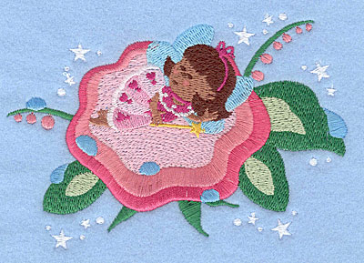 "Embroidery Design: Fairy sleeping on flower3.45"" x 5.00"""