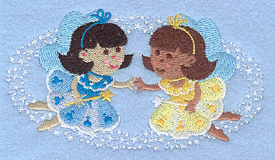 """Embroidery Design: Fairies holding hands2.73"""" x 5.00"""""""