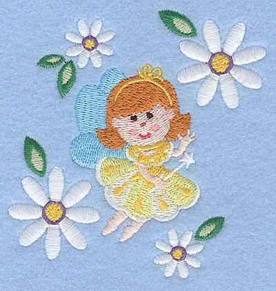 "Embroidery Design: Fairy amid daisy blooms3.90"" x 3.62"""