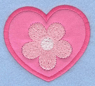 "Embroidery Design: Applique heart with flower2.70"" x 3.06"""