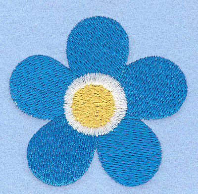 """Embroidery Design: Blue flower2.38"""" x 2.46"""""""