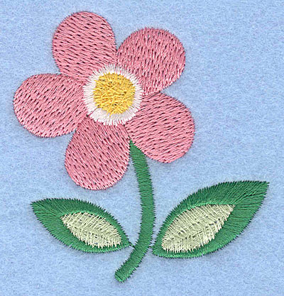 """Embroidery Design: Pink flower 2.47"""" x 2.48"""""""
