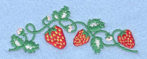 "Embroidery Design: Strawberries1.29"" x 3.50"""