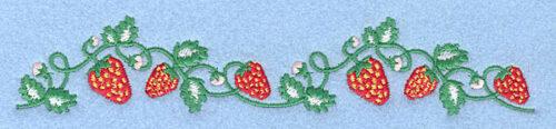 """Embroidery Design: Strawberry border1.29"""" x 7.00"""""""
