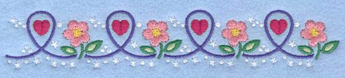 """Embroidery Design: Hearts and flowers1.22"""" x 3.69"""""""