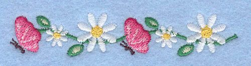 """Embroidery Design: Butterflies and daisies0.70"""" x 3.57"""""""