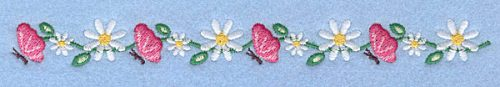 """Embroidery Design: Butterflies and daisies border0.70"""" x 7.00"""""""