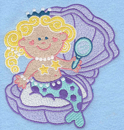 Embroidery Design: Mermaid in clam large4.66w X 5.00h