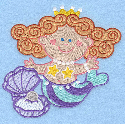 Embroidery Design: Mermaid with pearl large5.00w X 4.86h