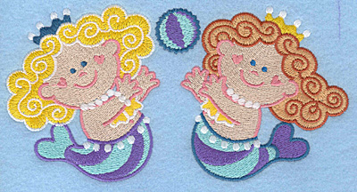 Embroidery Design: Mermaids with ball large7.00w X 3.65h