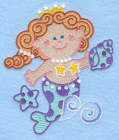 Embroidery Design: Mermaid with seashell large4.11w X 5.00h