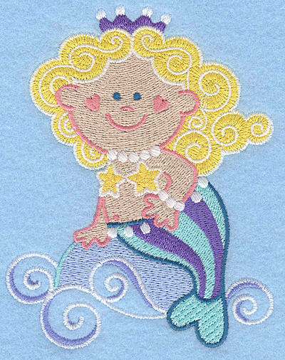 Embroidery Design: Mermaid riding waves large 3.95w X 5.00h