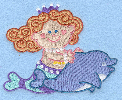 Embroidery Design: Mermaid on dolphin3.90w X 3.09h