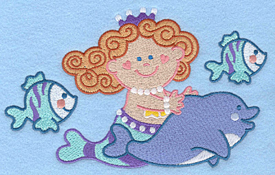 Embroidery Design: Mermaid dolphin fish large7.00w X 4.32h