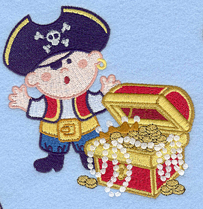 Embroidery Design: Pirate with treasure chest large4.37w X 4.59h