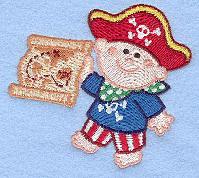 Embroidery Design: Pirate with treasure map large4.25w X 3.84h