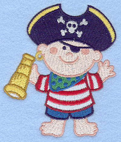 Embroidery Design: Pirate with telescope large3.54w X 4.21h