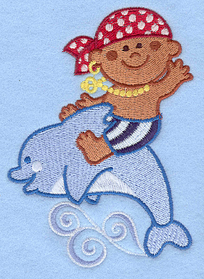 Embroidery Design: Pirate on dolphin large3.57w X 5.00h