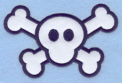 Embroidery Design: Skull and cross bones applique4.50w X 2.91h