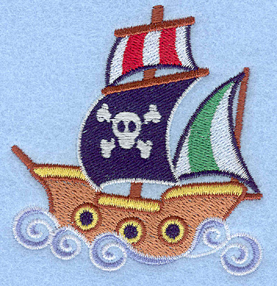 Embroidery Design: Pirate ship3.00w X 3.21h