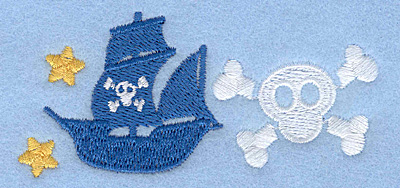 Embroidery Design: Pirate ship and skull3.57w X 1.65h