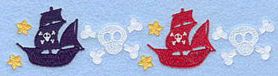 Embroidery Design: Pirate ships and skull border7.00w X 1.65h