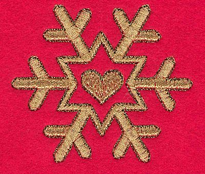 Embroidery Design: Snowflake with heart N small2.97w X 2.57h