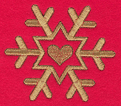 Embroidery Design: Snowflake with heart N medium3.95w X 3.42h