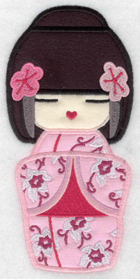 Embroidery Design: Kokeshi Doll 1A Three appliques 6.95w X 3.35h
