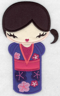 Embroidery Design: Kokeshi Doll 2A Four appliques 6.98w X 4.21h