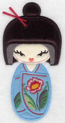 Embroidery Design: Kokeshi Doll 3A Three appliques 6.99w X 3.52h