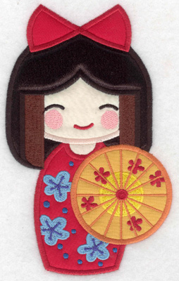 Embroidery Design: Kokeshi Doll 4A Four appliques 7.00w X 4.26h