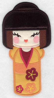Embroidery Design: Kokeshi Doll 5A Three appliques 6.98w X 3.60h