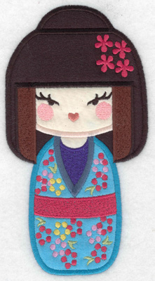 Embroidery Design: Kokeshi Doll 6A Three appliques 6.98w X 3.67h