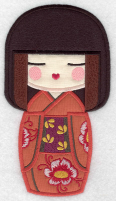 Embroidery Design: Kokeshi Doll 7A Three appliques 6.92w X 3.82h