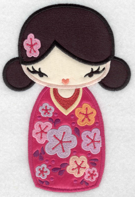 Embroidery Design: Kokeshi Doll 8A Three appliques 6.99w X 4.71h