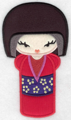 Embroidery Design: Kokeshi Doll 9A Four appliques 6.96w X 3.33h