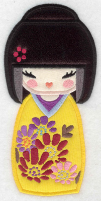 Embroidery Design: Kokeshi Doll 10A Three appliques  6.99w X 3.33h