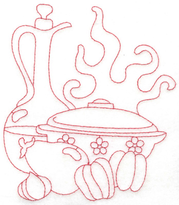Embroidery Design: Carafe and pot large 5.13w X 6.00h