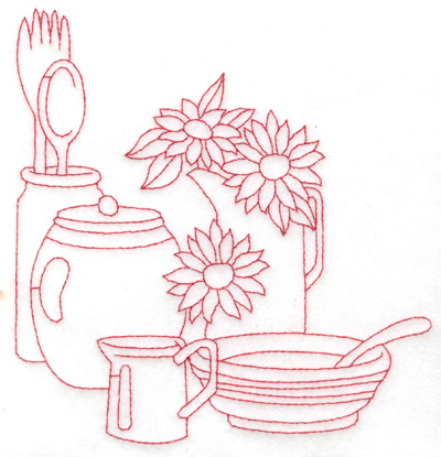 Embroidery Design: Flowers bowl and utensils large 5.74w X 5.97h