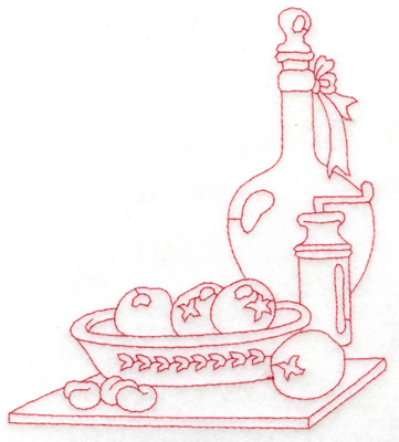 Embroidery Design: Bowl bottle and pepper mill large 5.37w X 5.97h