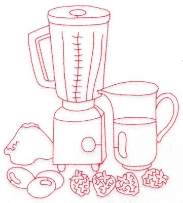 Embroidery Design: Blender and pitcher large 5.43w X 5.98h